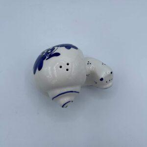 Amarcord Saliera in ceramica dipinta a mano a forma di lumaca con disegni romagnoli blu