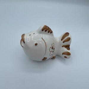 Amarcord Saliera in ceramica dipinta a mano a forma di pesce con disegni romagnoli ruggine