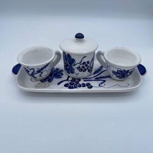 Set Caffè 2 tazzine con zuccheriera in ceramica fatto e dipinto a mano con disegni romagnoli blu