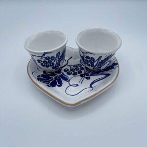 Set Caffè Vassoio a forma di cuore con due tazzine in ceramica fatto e dipinto a mano con disegni romagnoli colore blu