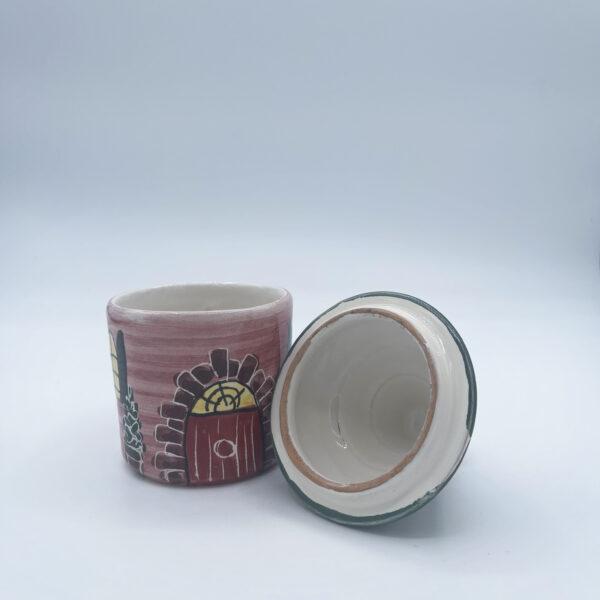 Barattolo piccolo porta sale e porta spezie a forma di casetta in ceramica fatta e dipinta a mano