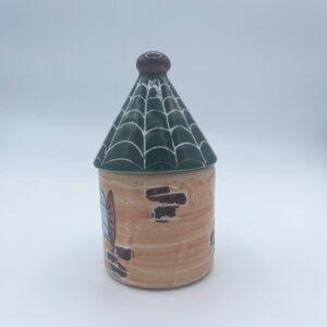 Barattolo medio porta sale e porta spezie a forma di casetta in ceramica fatta e dipinta a mano arancio con tetto verde