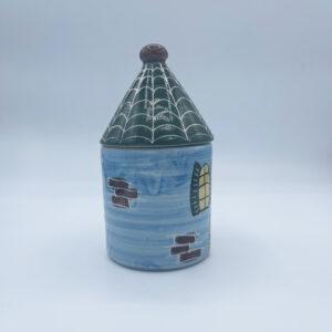 Barattolo grande porta sale e porta spezie a forma di casetta in ceramica fatta e dipinta a mano blu con tetto verde