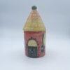 Barattolo grande porta sale e porta spezie a forma di casetta in ceramica fatta e dipinta a mano rossa con tetto giallo
