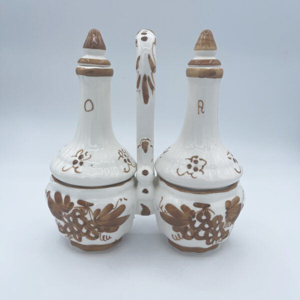 Amarcord Bottiglie Olio e Aceto in Ceramica dipinte a mano con disegni romagnoli ruggine