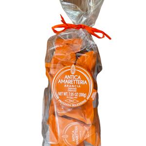 Antica Amaretteria ARANCIA Pregiata Selezione Gluten Free 200 gr Ingredienti: zucchero armelline (minimo 20%) mandorle (minimo 20%) cubetti di arancia candito (minimo 20%) scorza di arancio, zucchero, sciroppo di glucosio albume d'uovo Può contenere traccia di altra frutta da guscio Senza Glutine